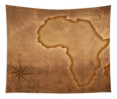 Old Style Africa Map Tapestry
