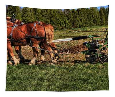 Old Time Horse Plowing Tapestry