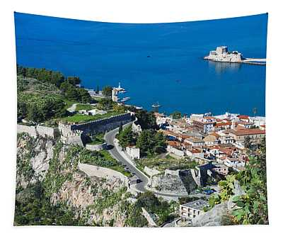 Old Town Nafplio And Ruins Tapestry