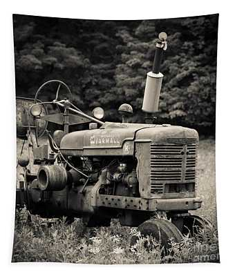 Old Tractor Black And White Square Tapestry