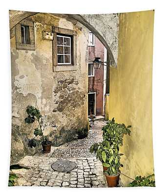 Old World Courtyard Of Europe Tapestry