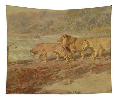 On The Bank Of An African River Tapestry