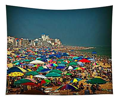 On The Beach In August Tapestry