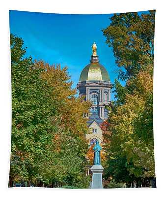 On The Campus Of The University Of Notre Dame Tapestry