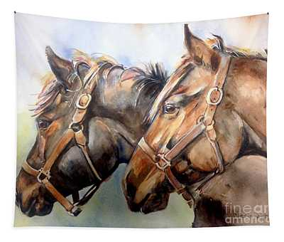 Horse In Watercolor On Watch Tapestry