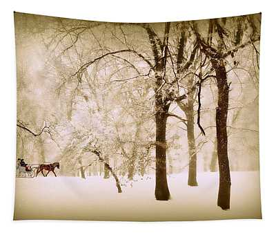 One Horse Open Sleigh Tapestry