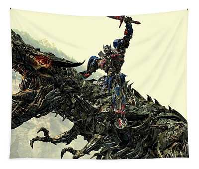 Optimus Prime Riding Grimlock Tapestry