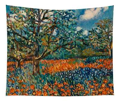 Orange And Blue Flower Field Tapestry