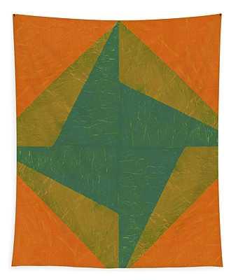Orange And Green Pinwheel Tapestry