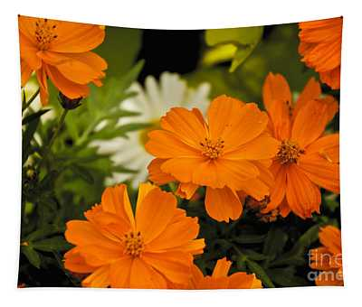 Orange Flowers Tapestry