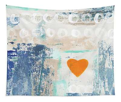 Orange Heart- Abstract Painting Tapestry