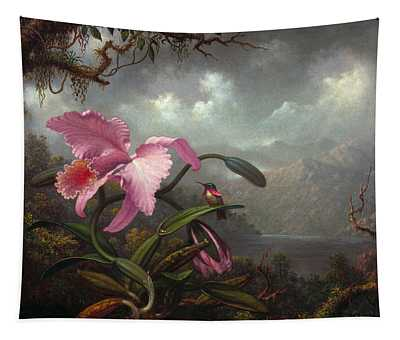 Orchid And Hummingbird Tapestry