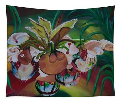 Orchids In Raindrop Reflections Tapestry
