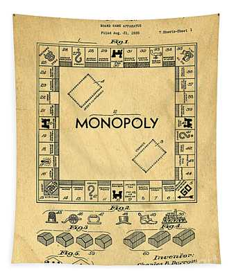 Tapestry featuring the digital art Original Patent For Monopoly Board Game by Edward Fielding