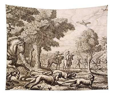 Otter Hunting By A River, Engraved Tapestry