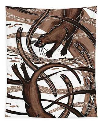 Otter With Eel, 2013 Woodcut Tapestry