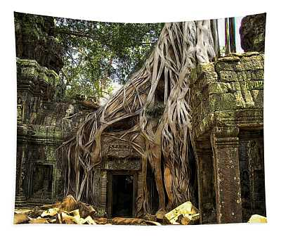 Overgrown Jungle Temple Tree  Tapestry