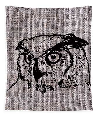 Owl On Burlap Tapestry