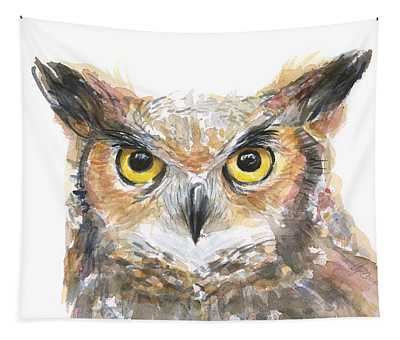 Owl Watercolor Portrait Great Horned Tapestry