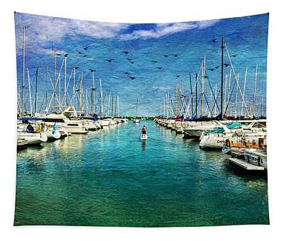 Paddle Boarder  In The Harbor Tapestry