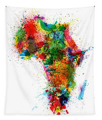 Paint Splashes Map Of Africa Map Tapestry