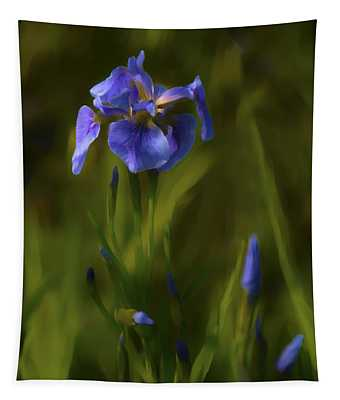 Painted Alaskan Wild Irises Tapestry