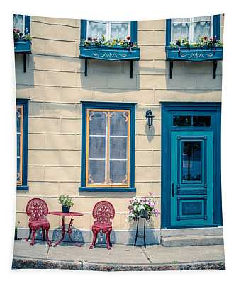 Painted Townhouse In Old Quebec City Tapestry