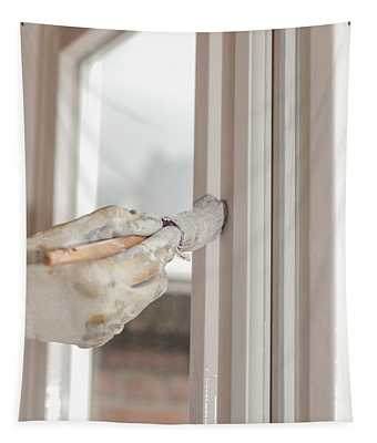 Painting A Window With White Tapestry