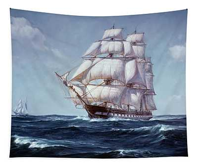 Painting Of The Square Rigged Frigate Tapestry