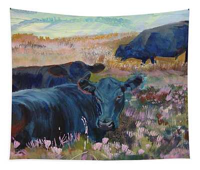 Painting Of Three Black Cows In Landscape Without Sky Tapestry