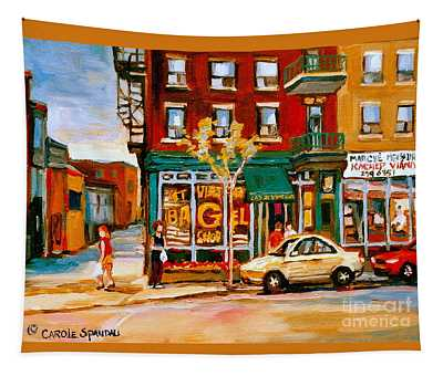 Paintings Of  Famous Montreal Places St. Viateur Bagel City Scene Tapestry