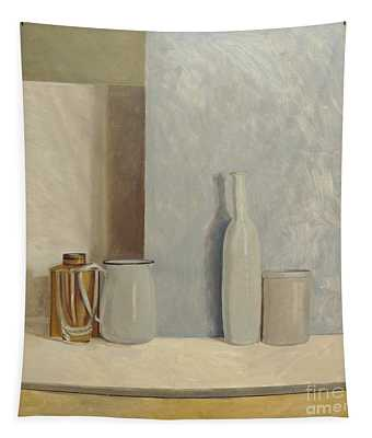 Pale Grey And Blue  Tapestry