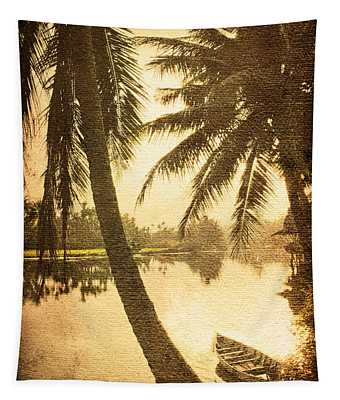 Palm And Boat Tapestry