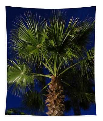 Palm Tree At Night Tapestry