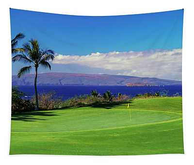 Palm Trees In A Golf Course, Wailea Tapestry