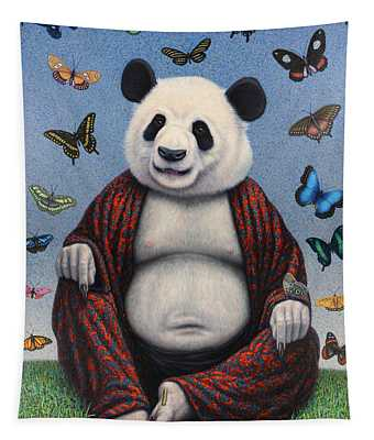 Tapestry featuring the painting Panda Buddha by James W Johnson
