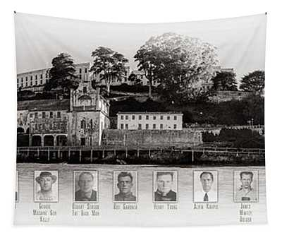 Panorama Alcatraz Infamous Inmates Black And White Tapestry