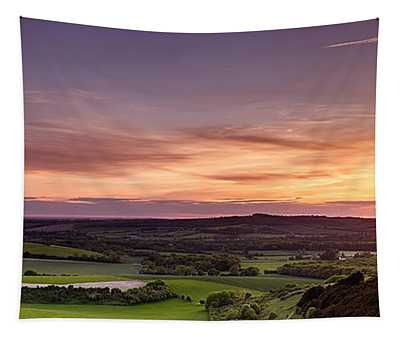 Panoramic Sunset Over England Tapestry
