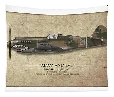 Pappy Boyington P-40 Warhawk - Map Background Tapestry