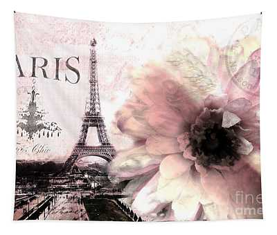 Paris Eiffel Tower Montage - Paris Romantic Pink Sepia Eiffel Tower Flower French Cottage Decor  Tapestry