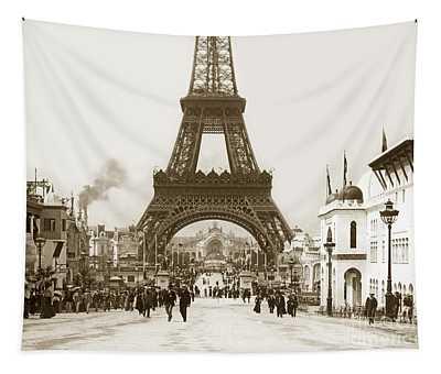 Paris Exposition Eiffel Tower Paris France 1900  Historical Photos Tapestry
