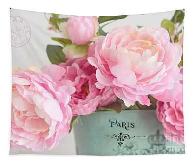 Paris Peonies Shabby Chic Dreamy Pink Peonies Romantic Cottage Chic Paris Peonies Floral Art Tapestry