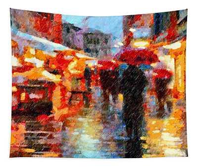 Parisian Rain Walk Abstract Realism Tapestry