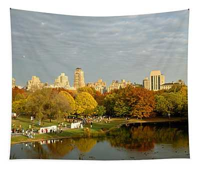 Park With Buildings In The Background Tapestry