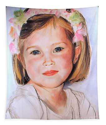 Pastel Portrait Of Girl With Flowers In Her Hair Tapestry