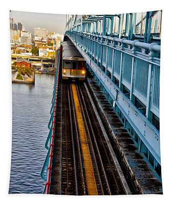 Patco Train On The Ben Franklin Bridge Tapestry