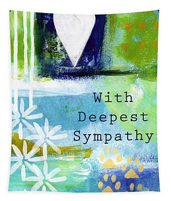 Paw Prints And Heart Sympathy Card Tapestry