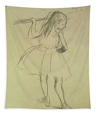 Girl Dancer At The Barre Tapestry