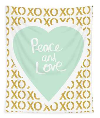 Peace And Love In Aqua And Gold Tapestry