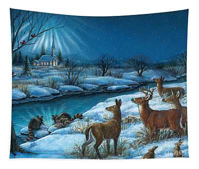 Peaceful Winters Night Tapestry